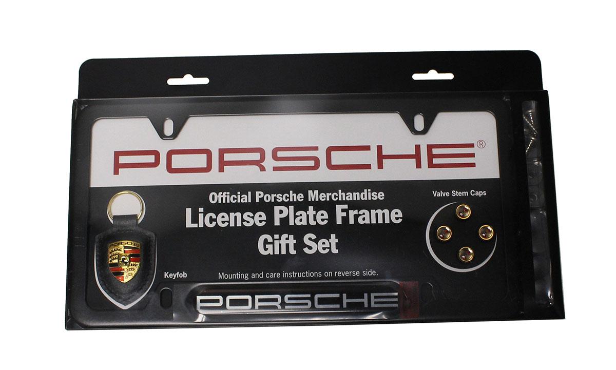 Porsche Black Stainless Steel License Plate Frame Gift Set