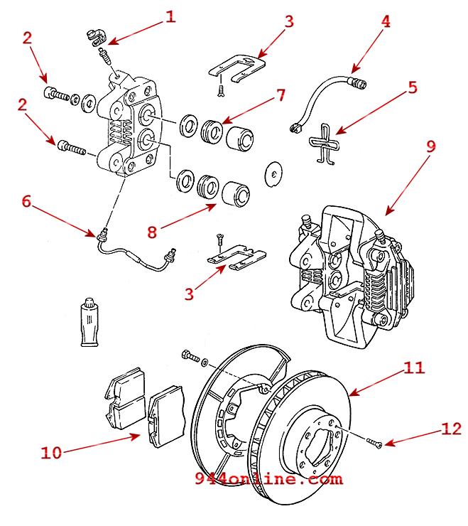 944 turbo rear brake diagram