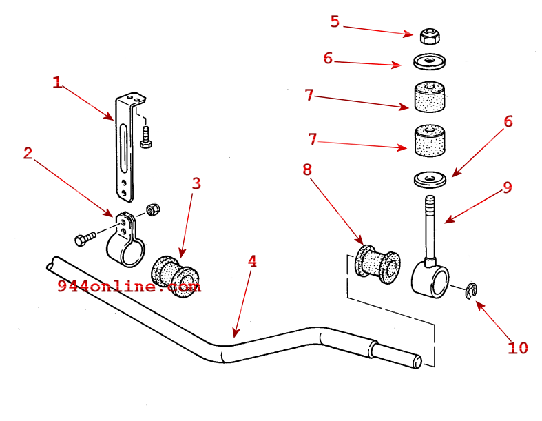944online your place for porsche 944 parts and 944 tools Rear Sway Bar Diagram 968 front sway bar diagram